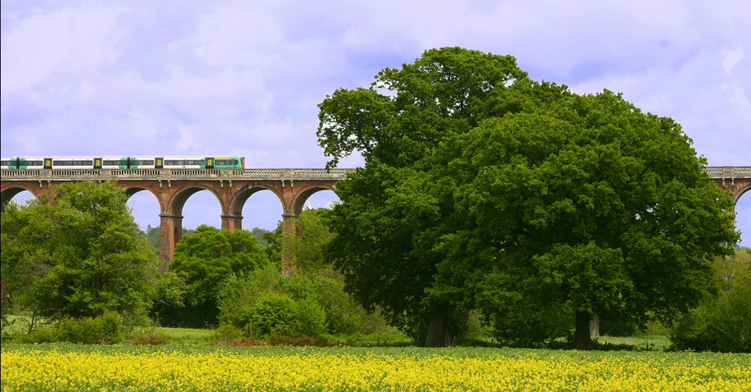 A train crossing a bridge in the countryside